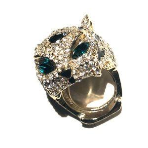 Spring Street Cat Rhinestone Ring OS
